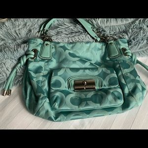 Coach purse, turquoise blue, perfect for summer